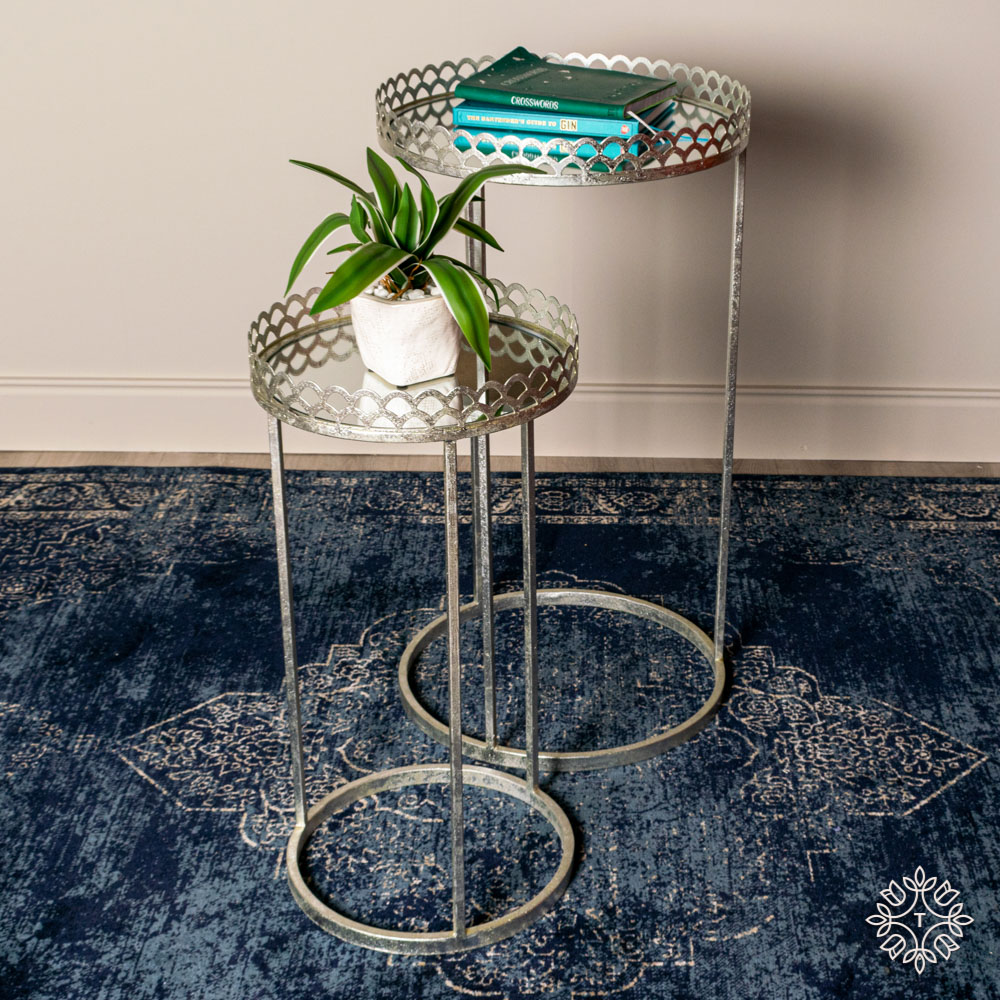 Ridgley set of two accent tables round mirrored silver
