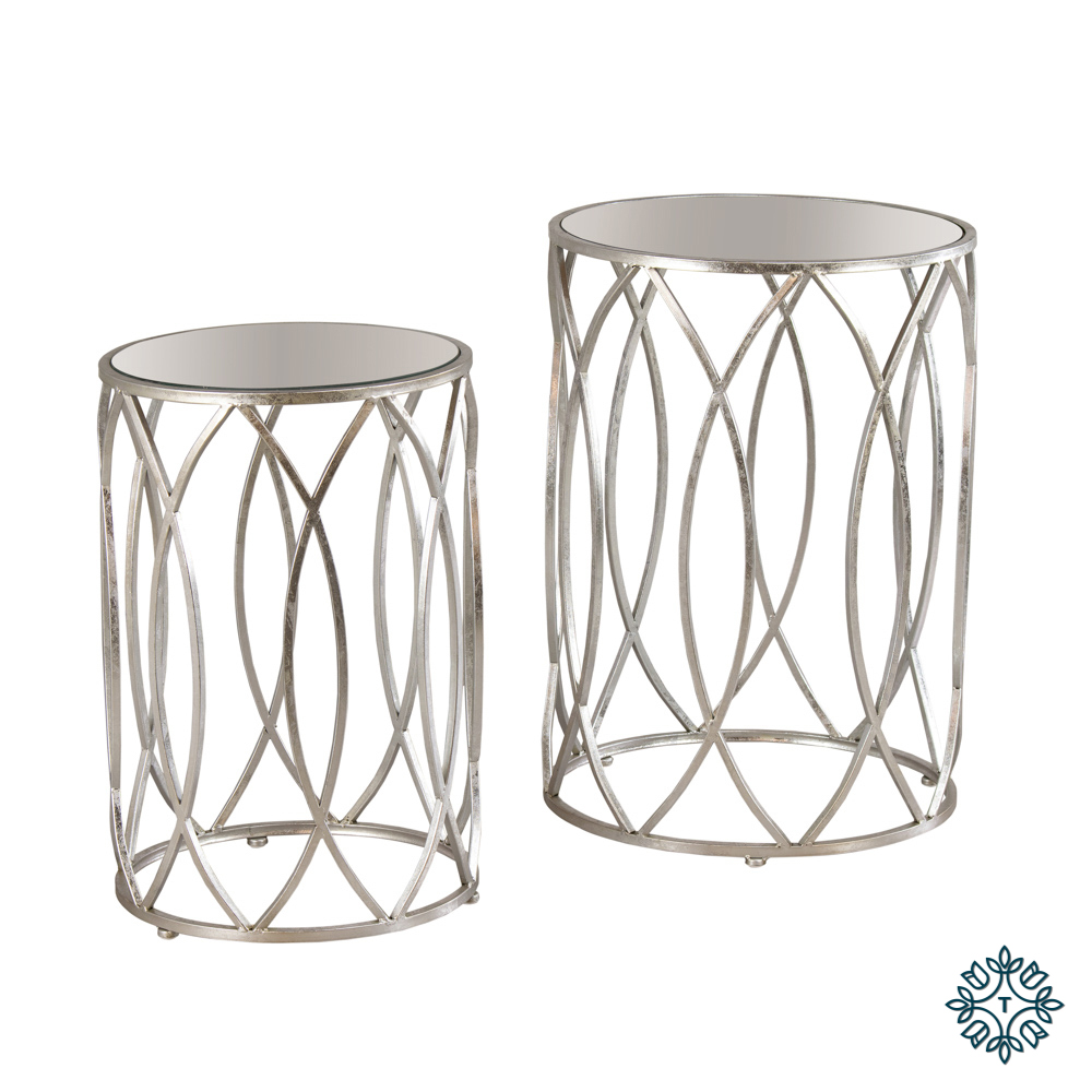Waves set of two side tables antique mirror silver