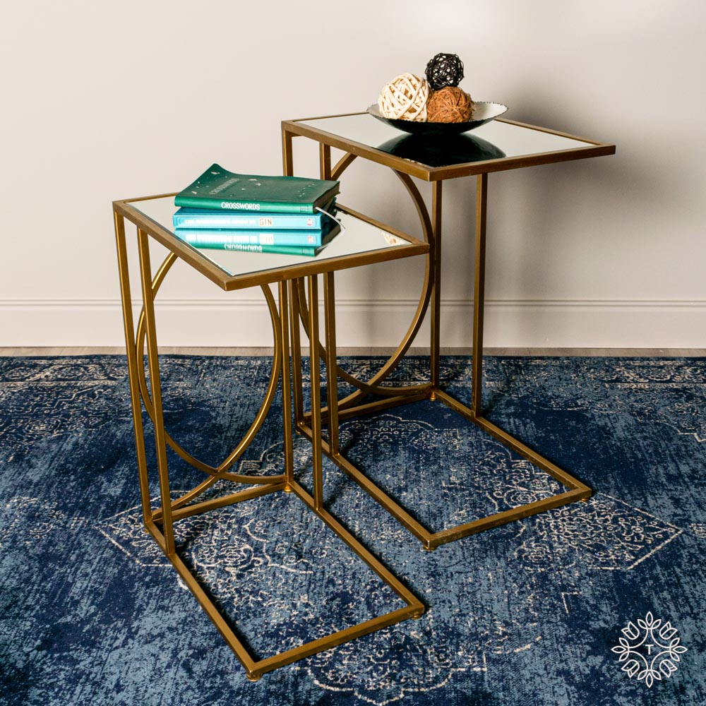 Franklin set of two sofa tables mirrored top gold