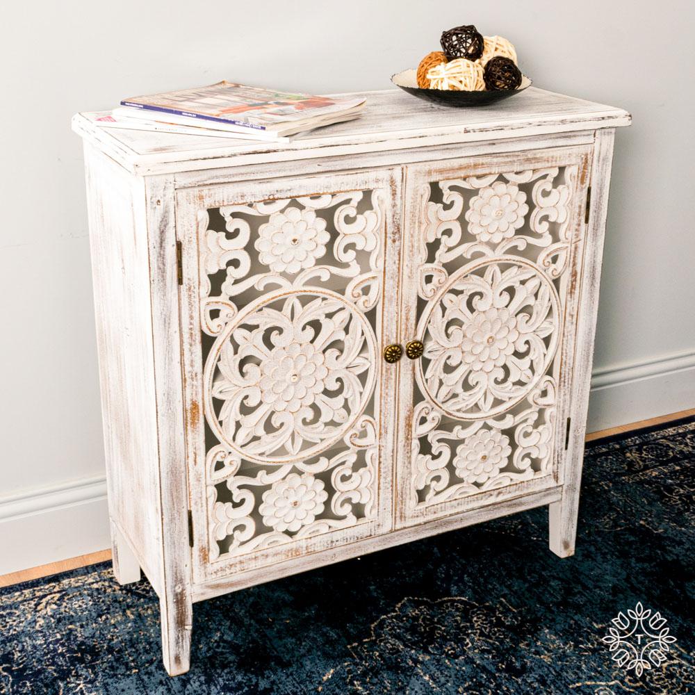 Jessie 2 door cabinet antique white medium