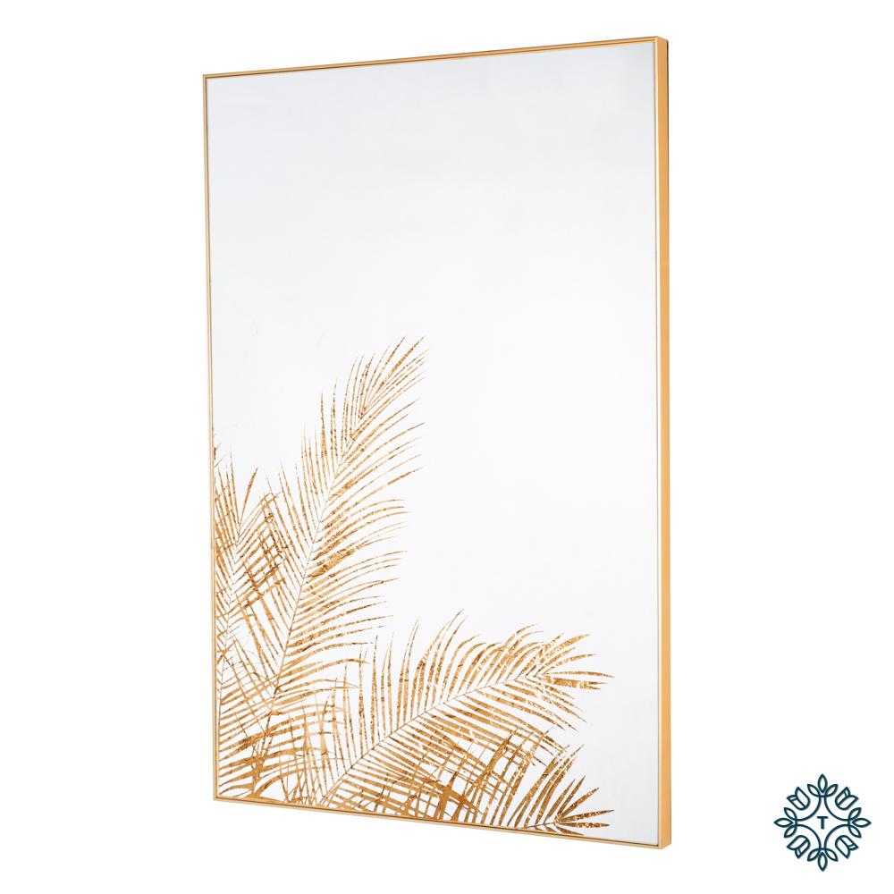 Mirror art fern silhouette gold