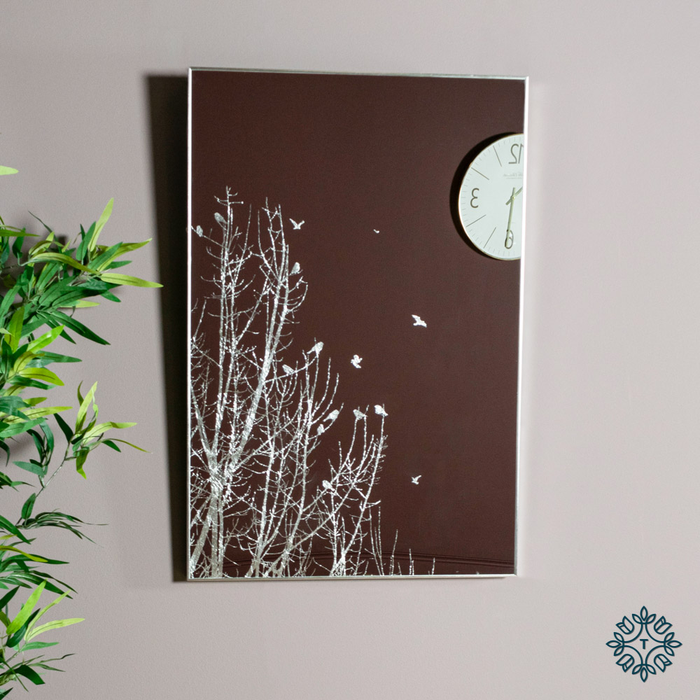 Mirror art forest silhouette silver