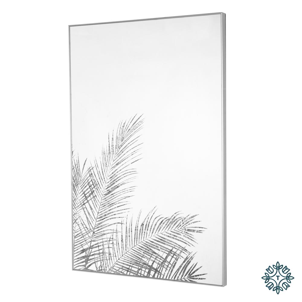 Mirror art fern silhouette silver