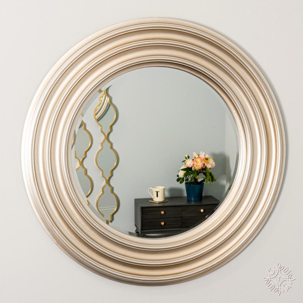 Ridges wall mirror round champagne