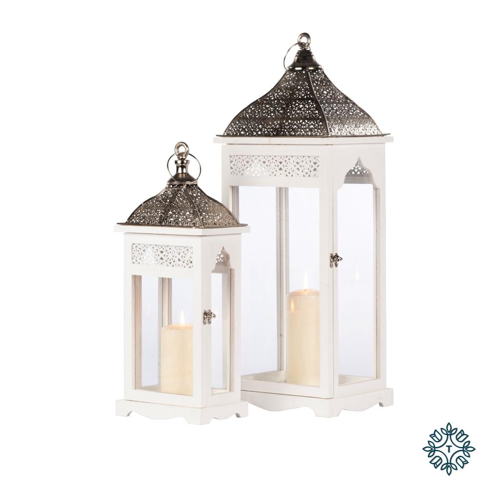 Agadir s/2 lanterns rectangle white