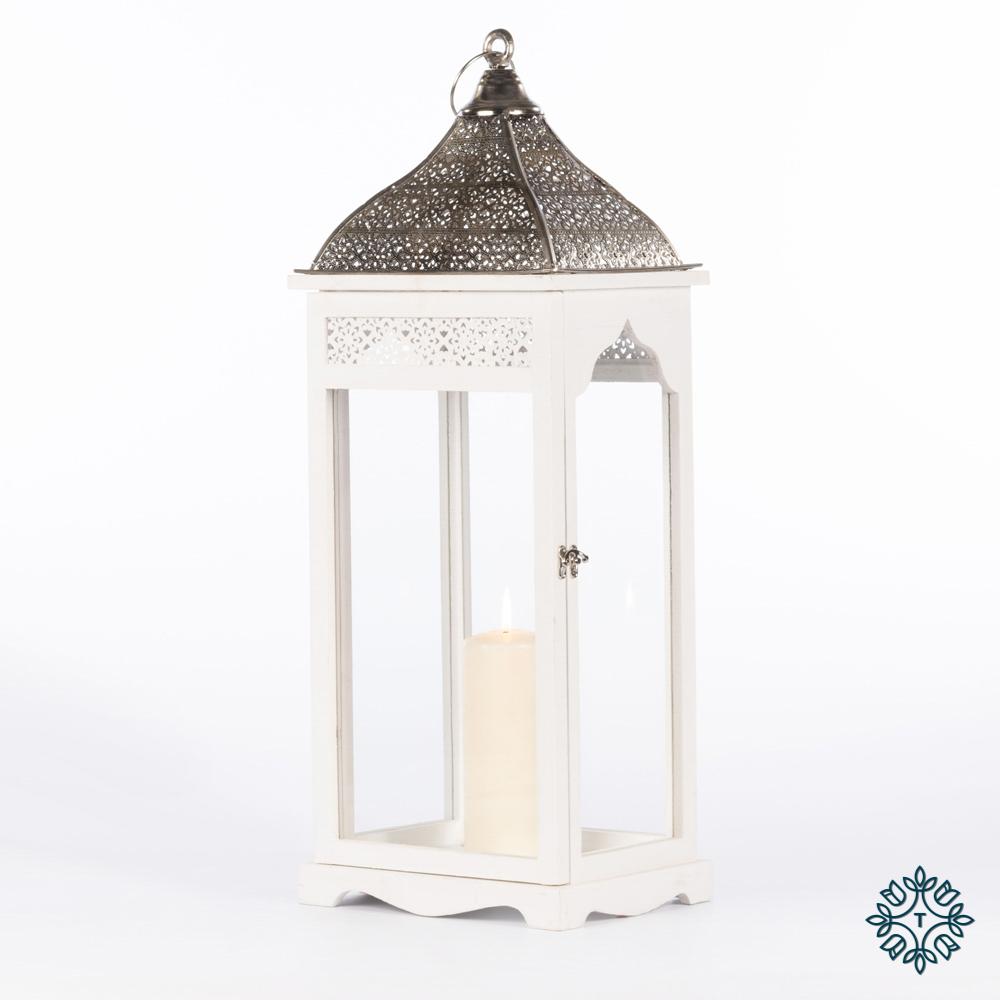 Agadir set of two lanterns rectangleangle white