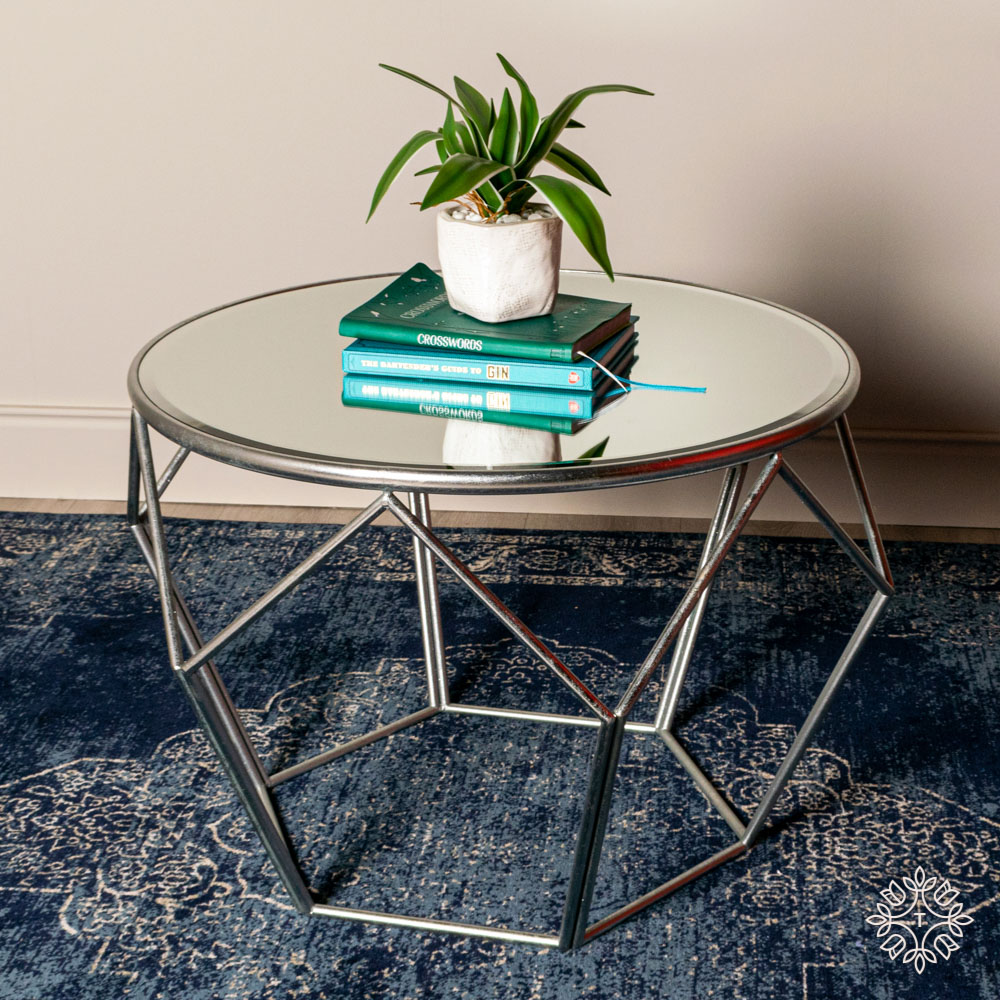 Geometric end table mirrored silver