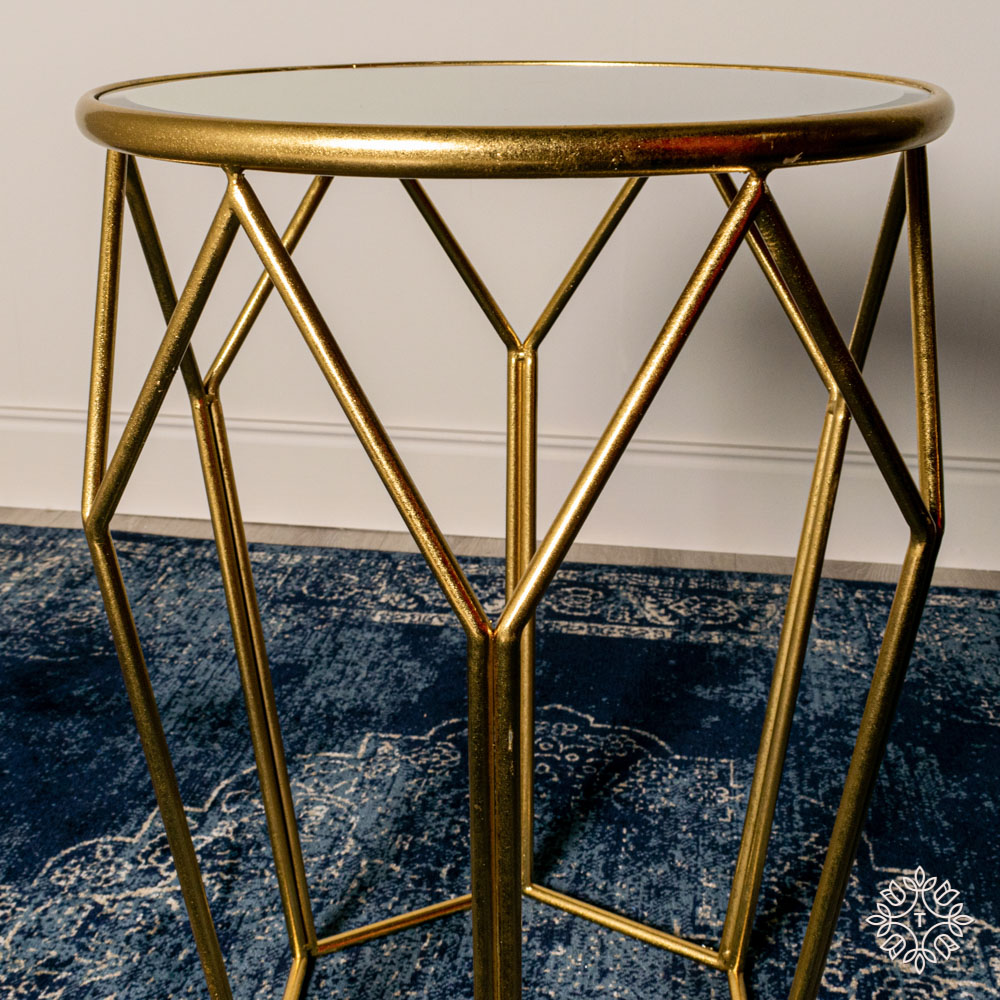 Geometric accent table mirrored gold