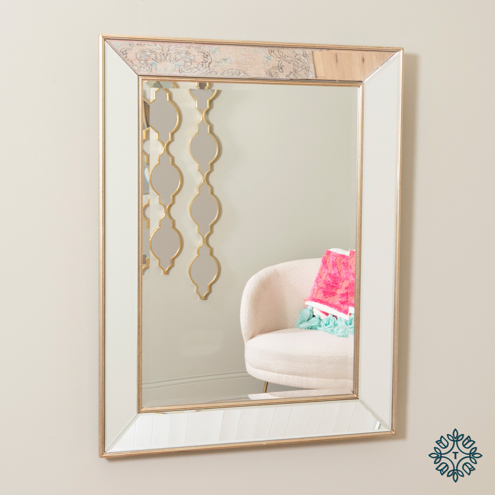 Wall mirror antique champagne clear glass
