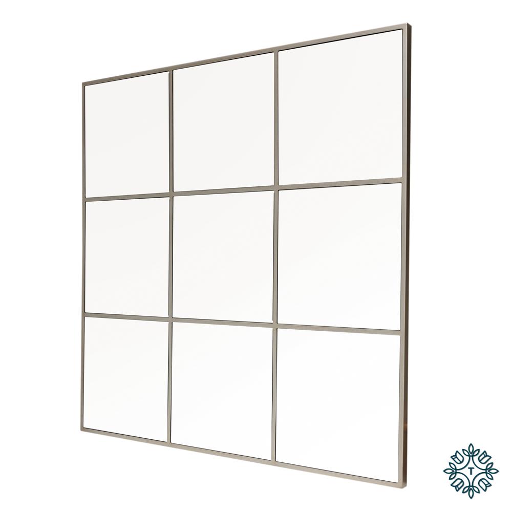 Square window mirror champagne