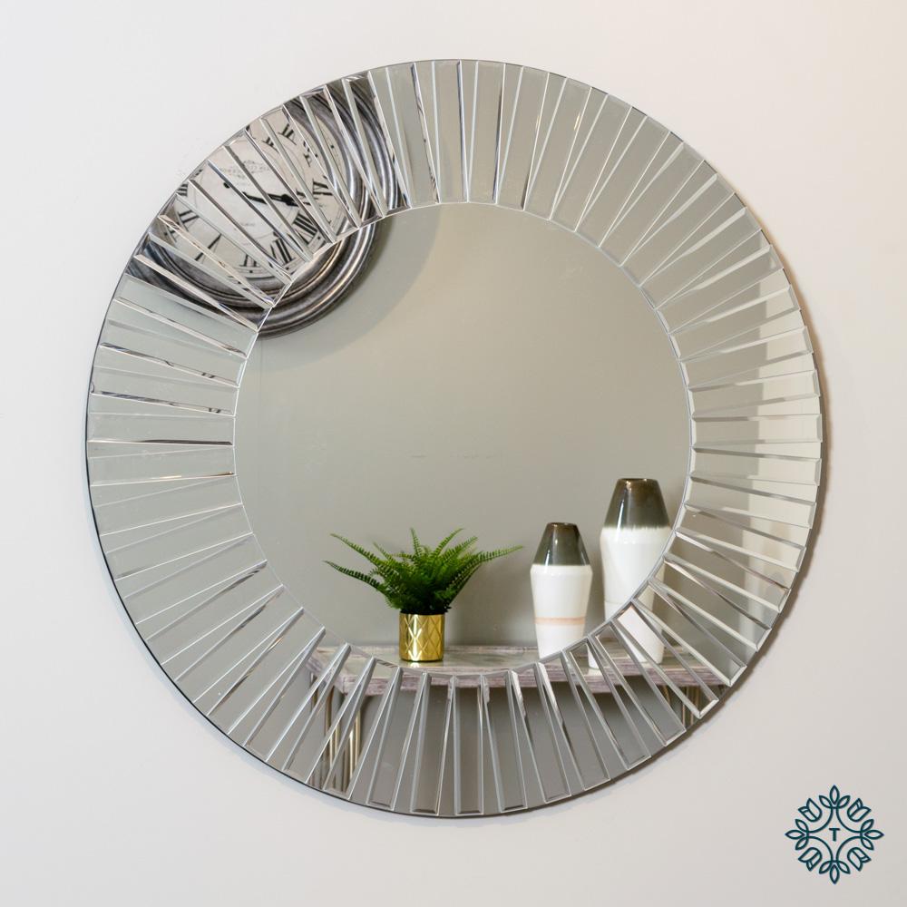 Alexandra contemporary wall mirror round 80cm