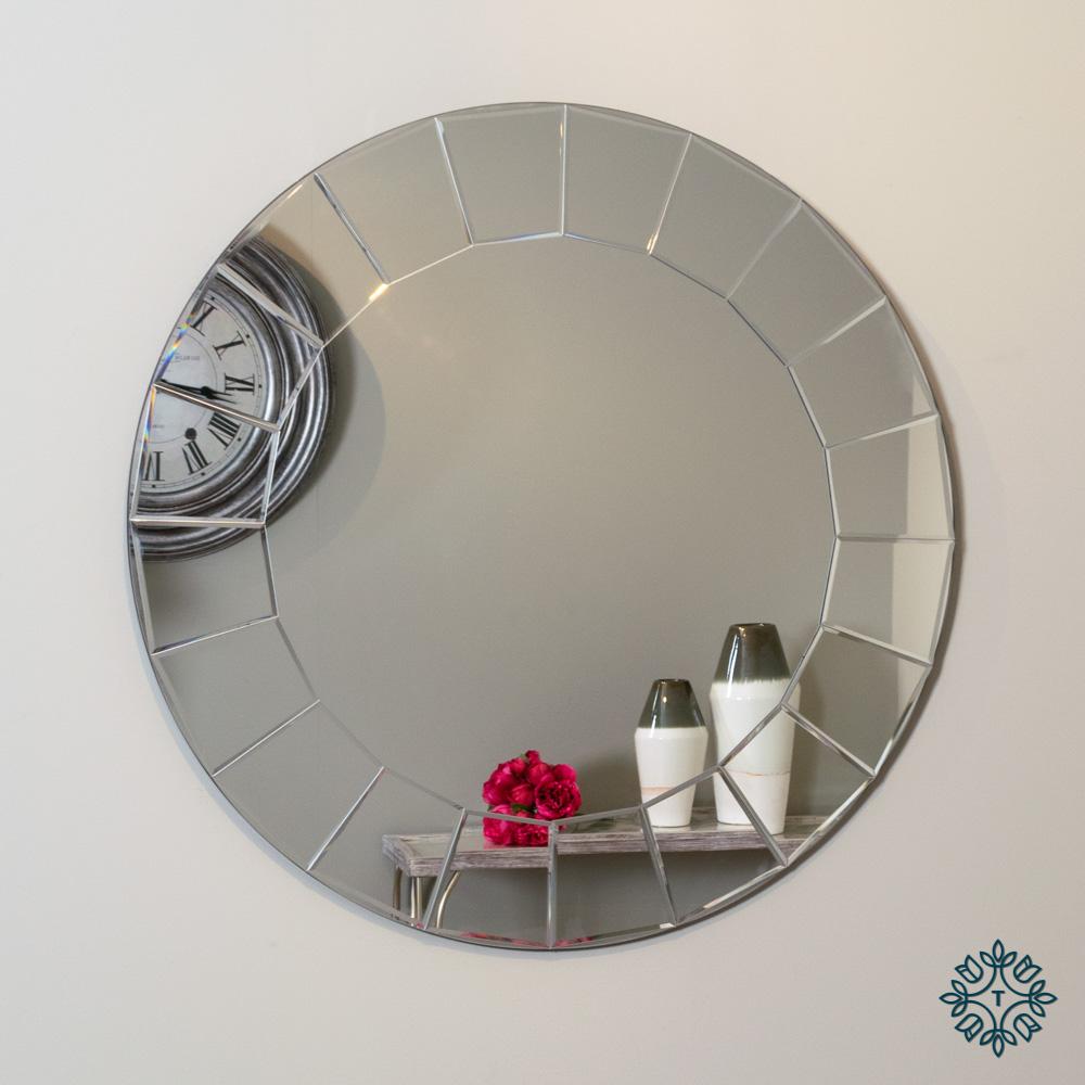 Lilliana contemporary wall mirror round 80cm