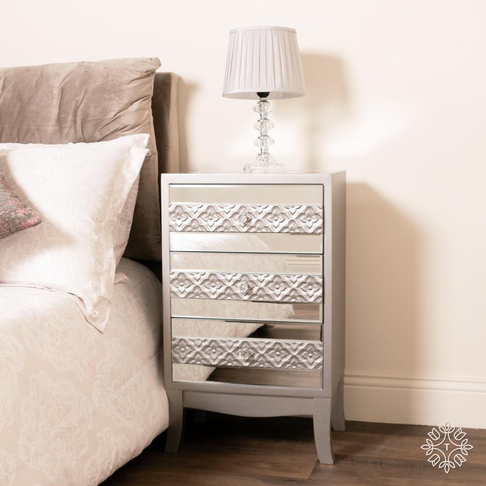 Jade mirrored 3 drawer locker