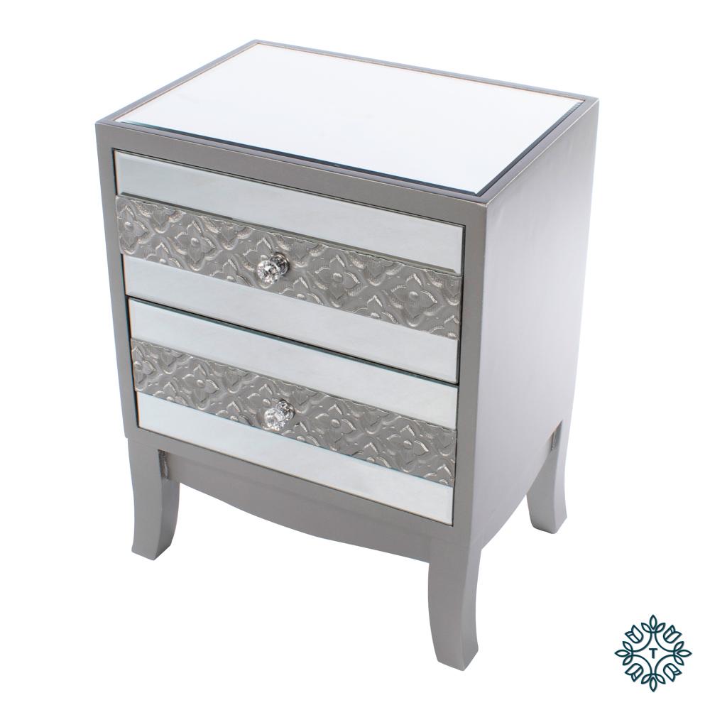 Jade mirrored 2 drawer locker