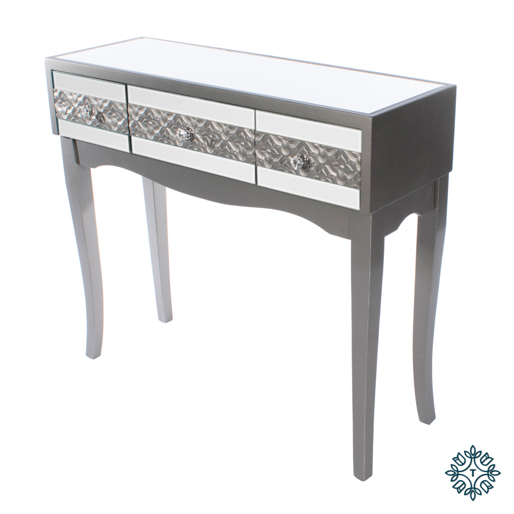 Jade mirrored 3 drawer console