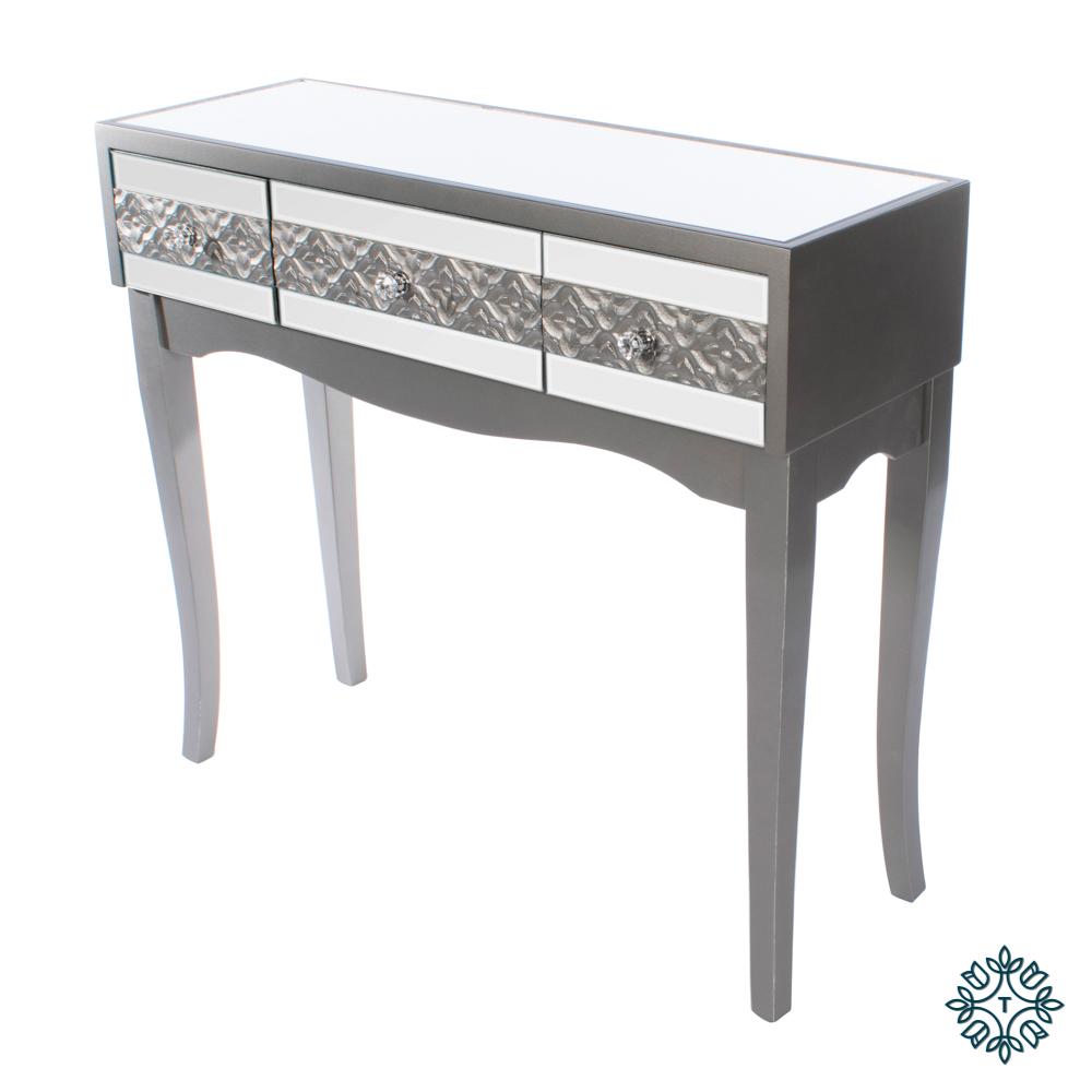 Jade mirrored 3 drawer console