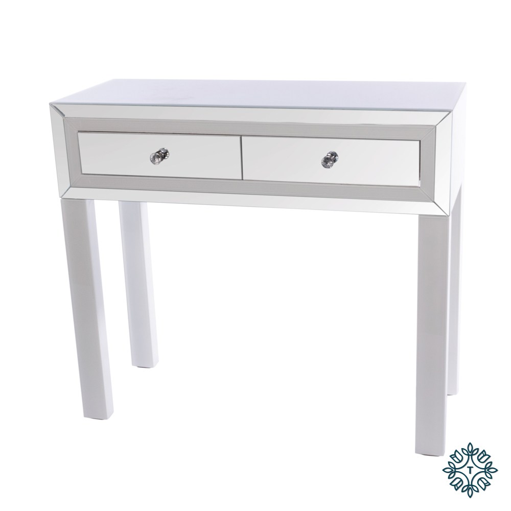 Freya 2 drawer mirrored console white