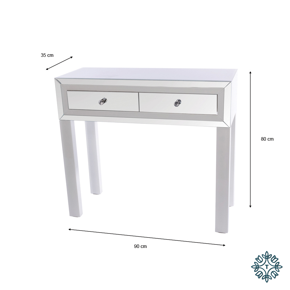 Freya 2 drawer mirrored console white