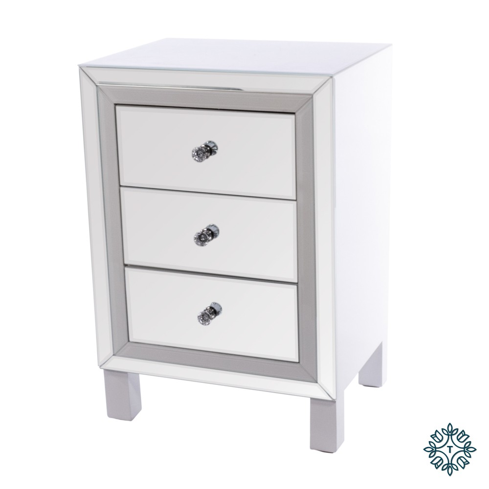 Freya 3 drawer mirrored locker white