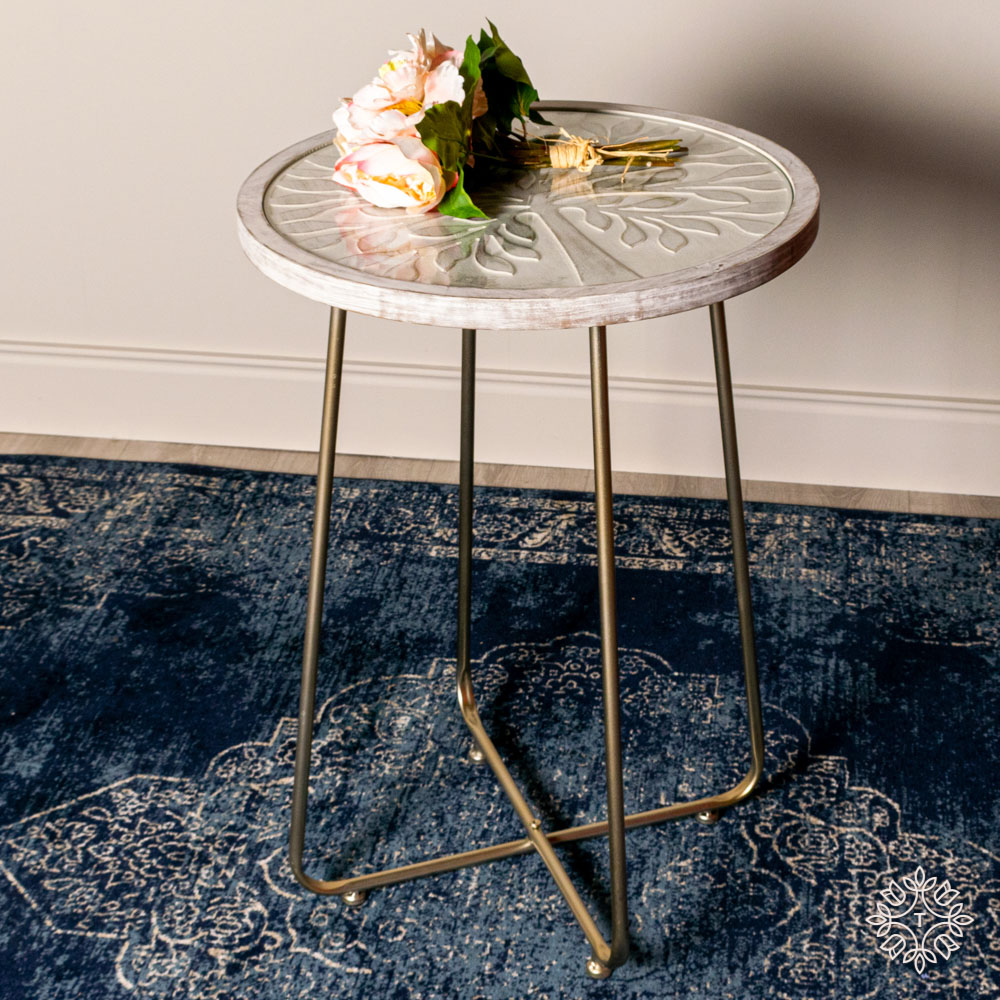 Tree pattern accent table white/champagne