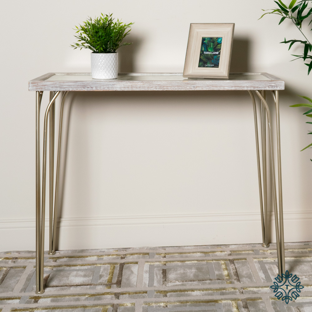 Tree pattern console table white/champagne