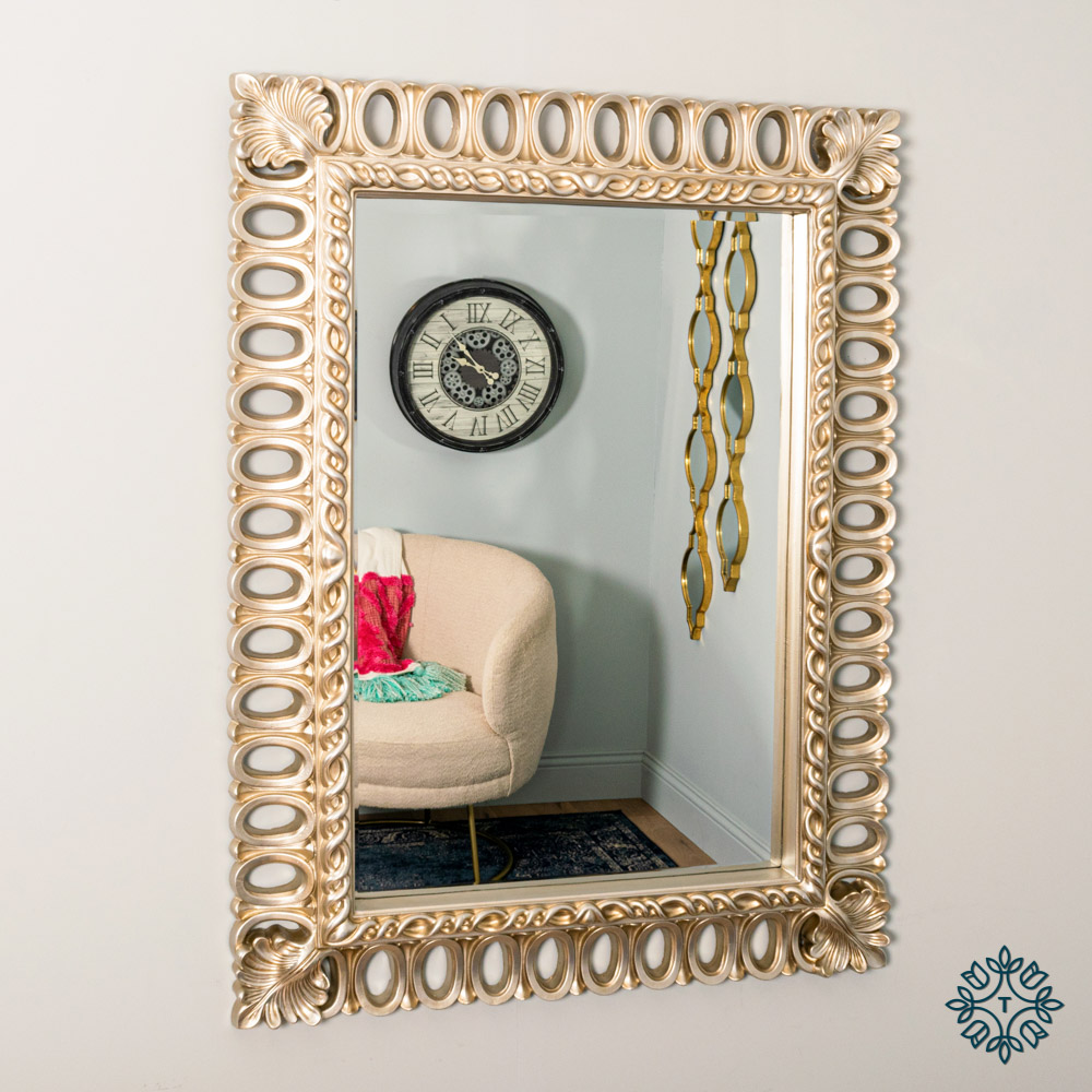 Reflections loop mirror champagne rectangle