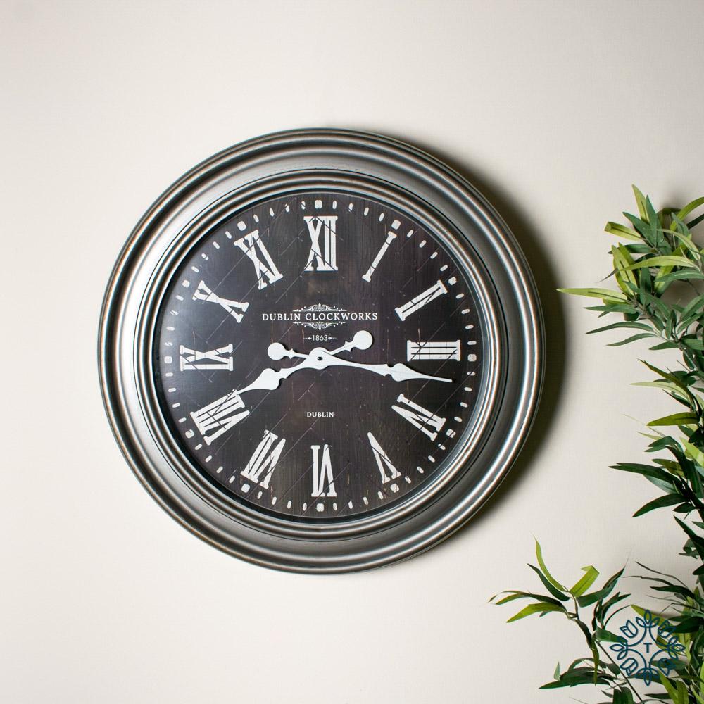 Jana oversize wall clock rustic grey