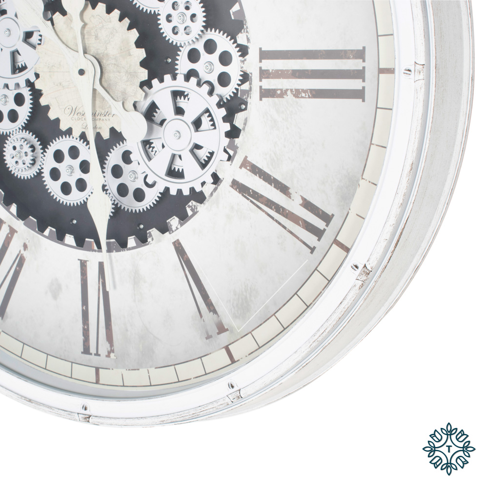 Clockworks gears clock antique white