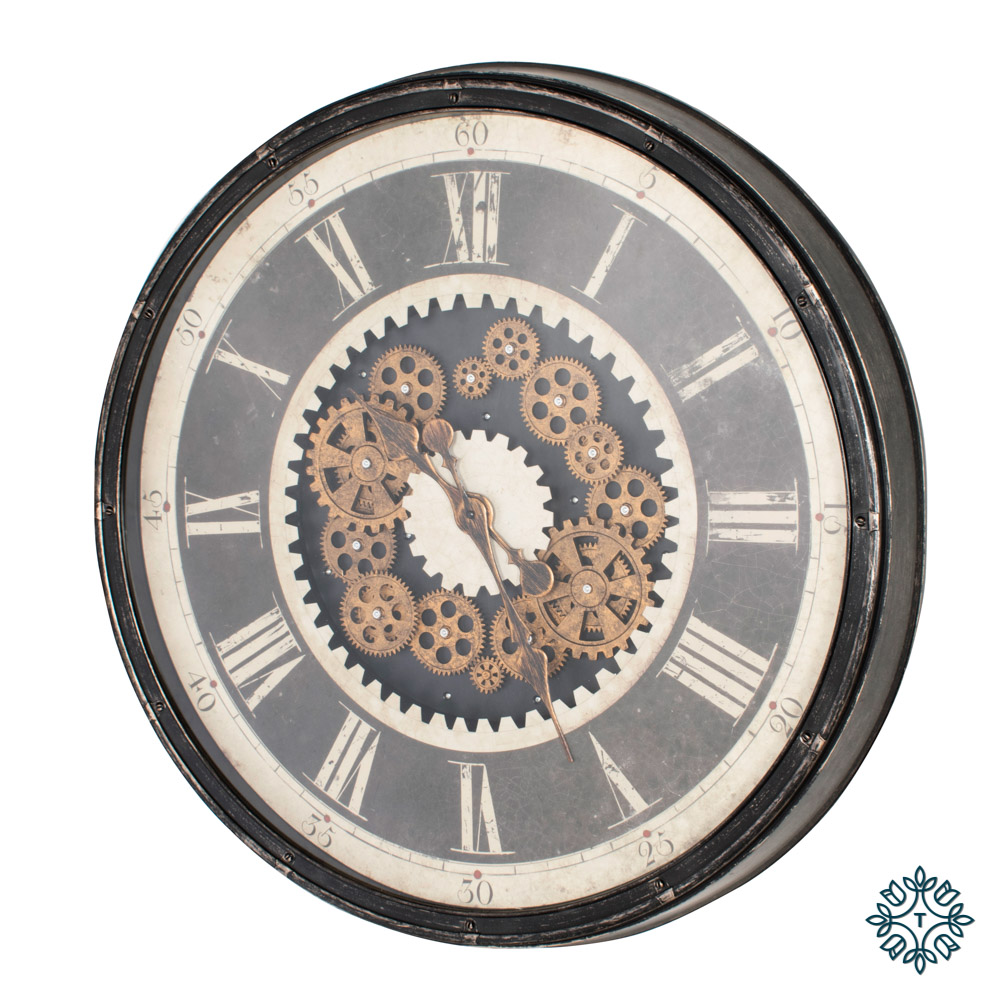 Clockworks gears clock ant grey