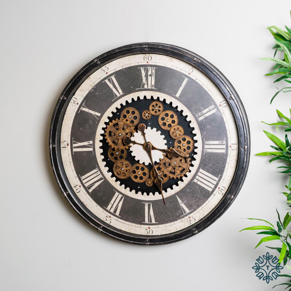 Clockworks gears clock antique grey