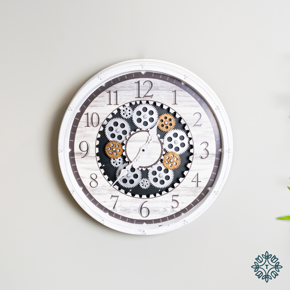 Clockworks gears clock antique white