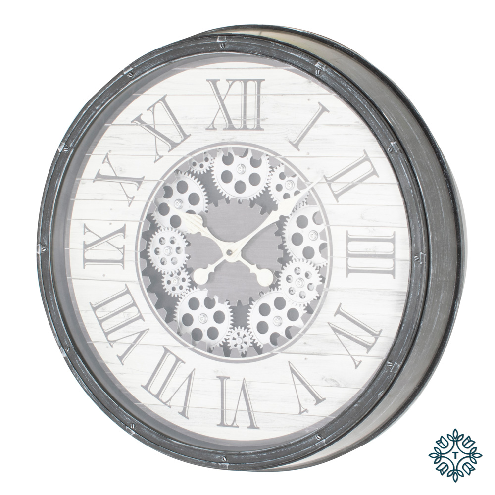 Clockworks gears clock antique grey