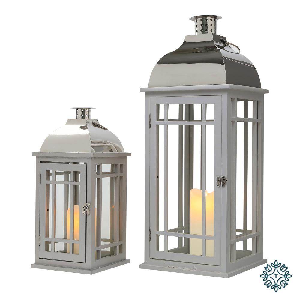 Julie s/2 wooden lanterns grey/chrome lrg/med