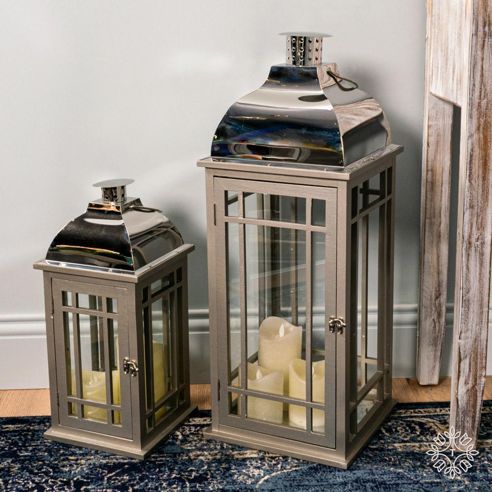 Julie set of two wooden lanterns grey/chrome large/medium