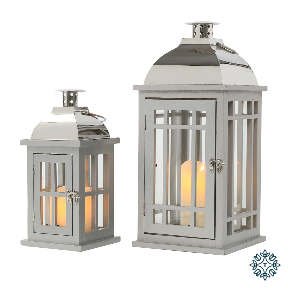 Julie set of two wooden lanterns grey/chrome medium/small
