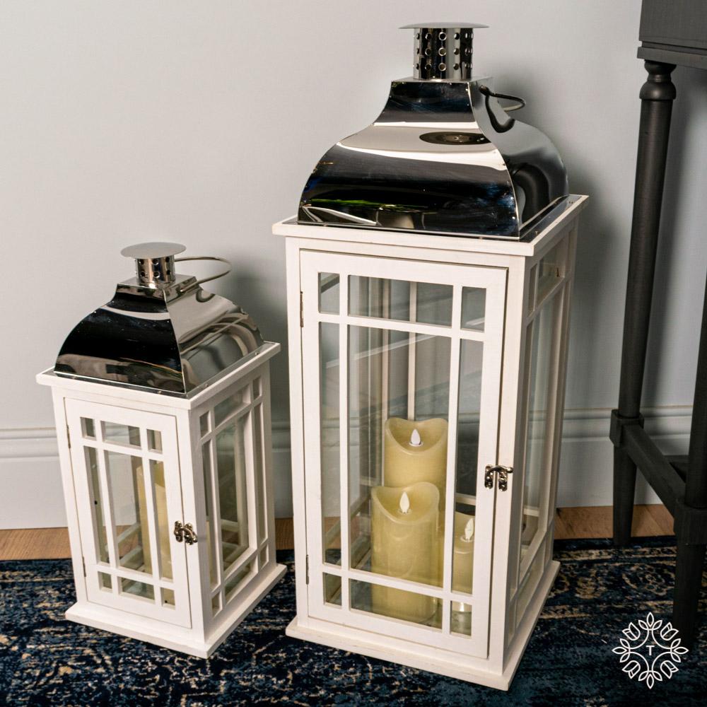 Julie set of two wooden lanterns white/chrome large/medium