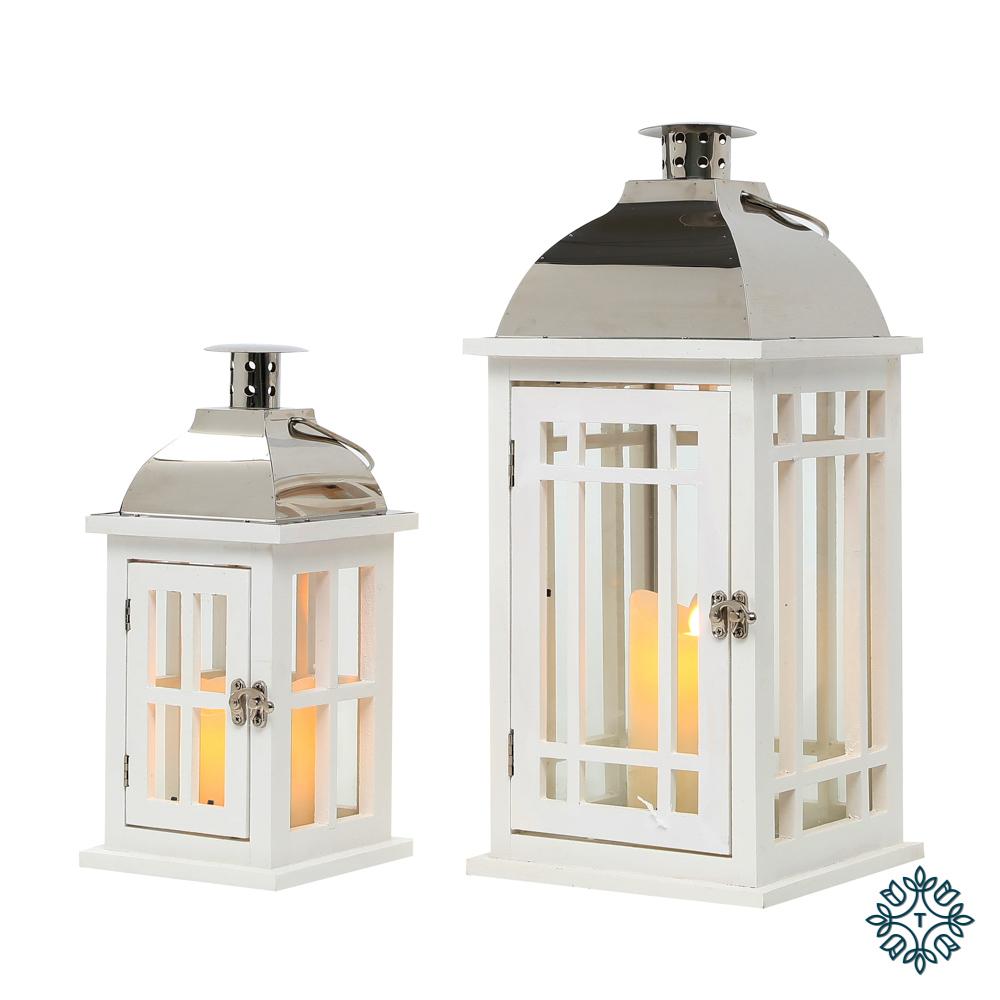 Julie set of two wooden lanterns white/chrome medium/small