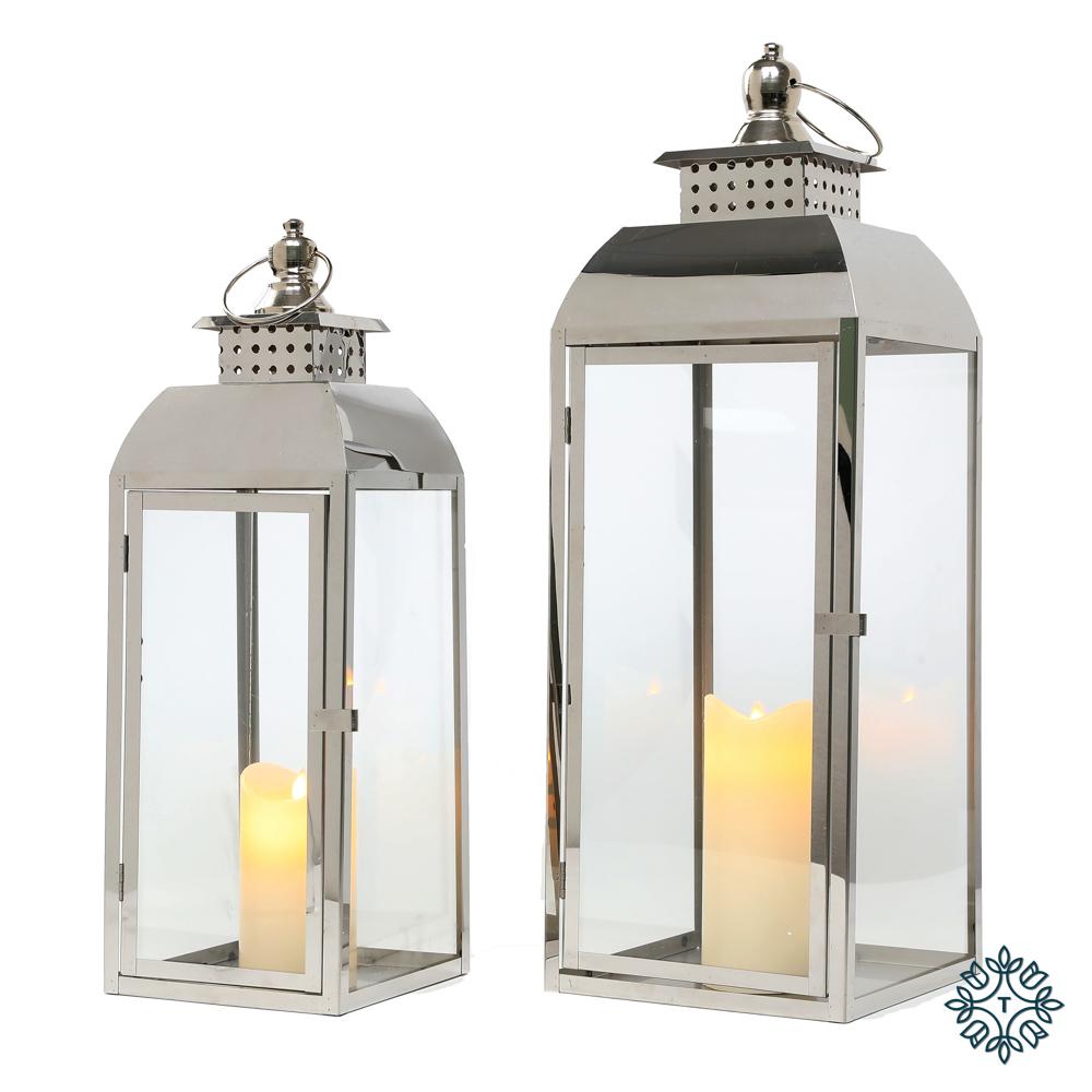 Tiffany set of two chrome lanterns large/medium