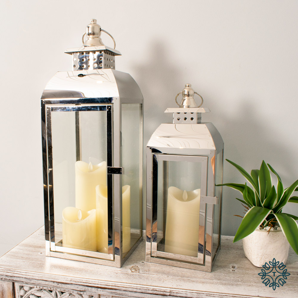 Tiffany set of two chrome lanterns medium/small