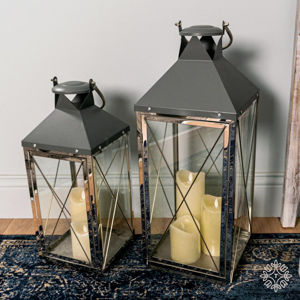 Nova set of two lanterns chrome/grey large/medium