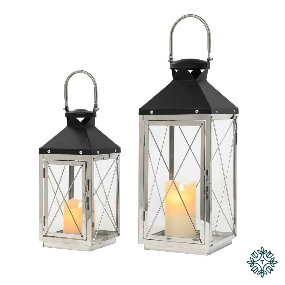 Nova set of two lanterns chrome/grey medium/small