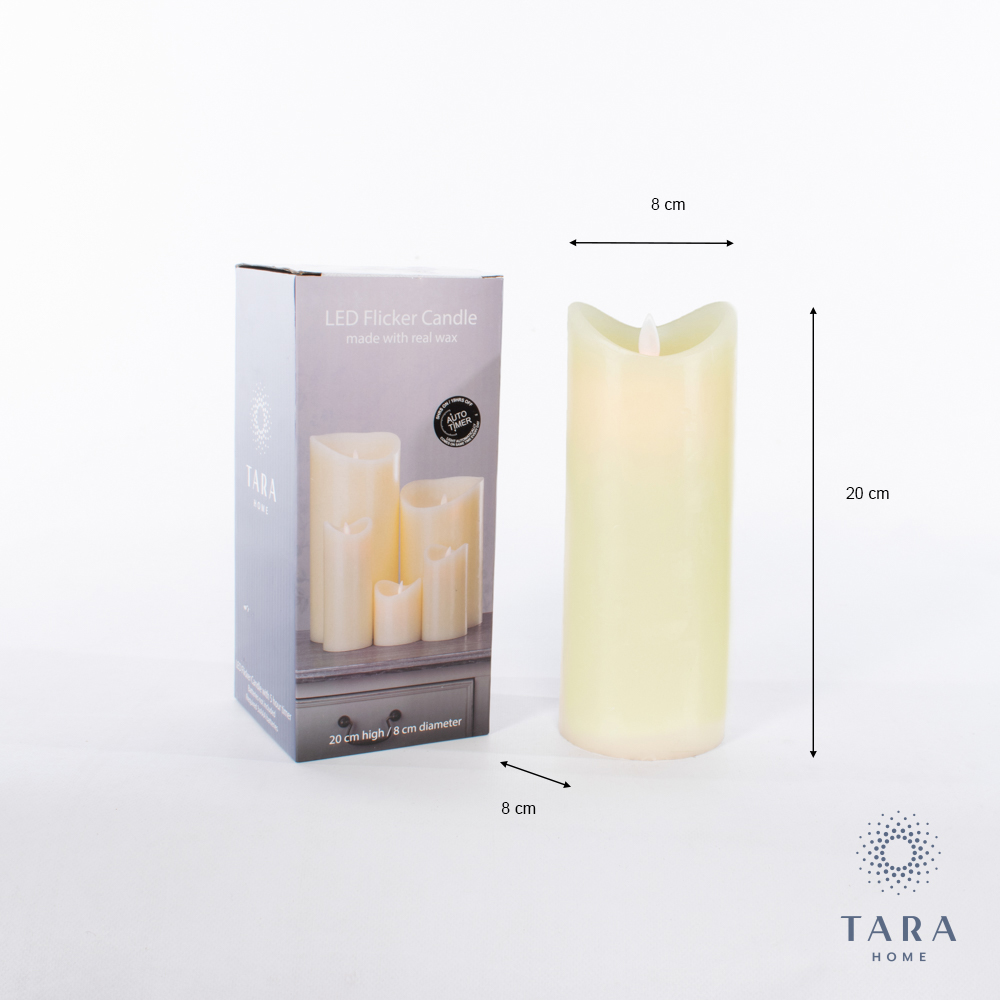 Flicker led candle set w/5hr timer ivory 20cm and 15cm