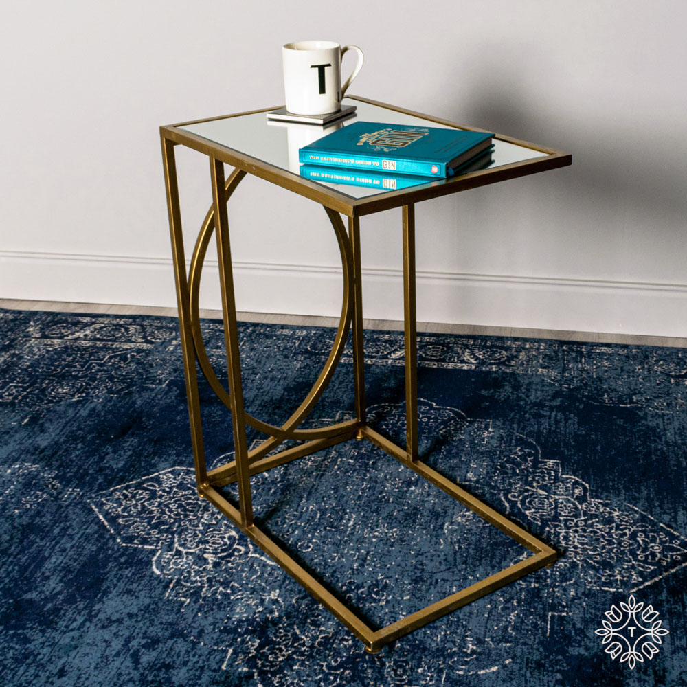 Franklin sofa table mirrored top gold