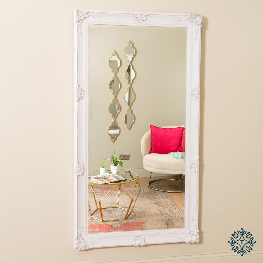 Elise leaner mirror large antique white