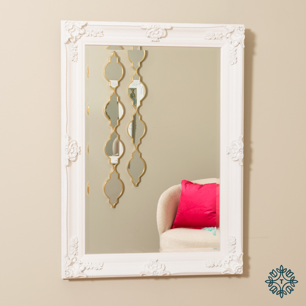 Elise wall mirror antique white