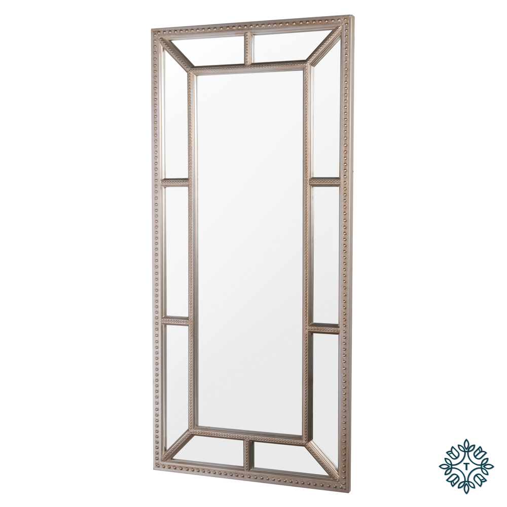 Remy beaded leaner mirror antique champagne