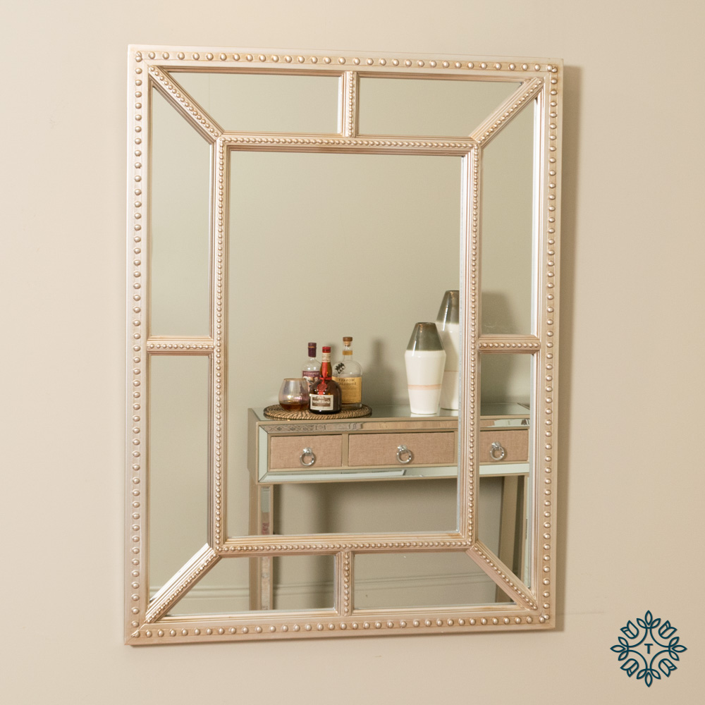 Remy beaded wall mirror antique champagne