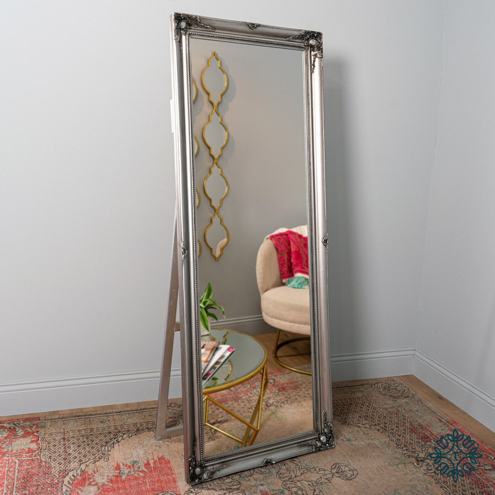 Chateau wide cheval mirror silver