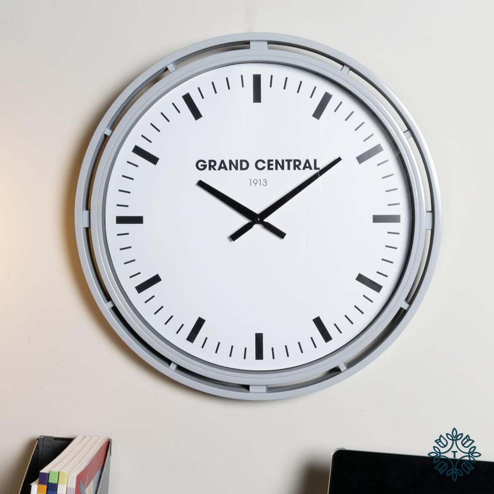Grand central clock grey gloss