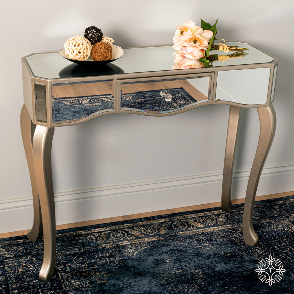 Reflections 1 drawer console w/curved legs